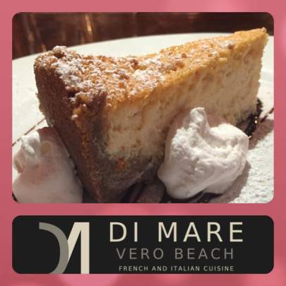 The Grand Marnier Cheesecake from Di Mare Vero Beach is homemade with sweet ricotta and cream cheese with the well known orange-flavored cognac liqueur. A tasty crumbled graham cracker crust holds it all together as it is finished with whipped cream and powdered sugar.